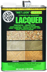 Clear Concrete And Masonry Lacquer Sealer Wet Look Indoor Outdoor Green 1 Gallon