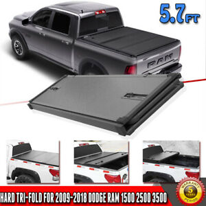 Fit 09 18 Doge Ram 1500 2500 3500 Solid 5 7 Hard Frp Tri Fold Tonneau Cover