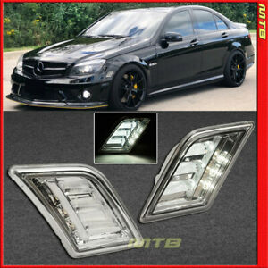 Led Side Markers For Mercedes Benz C Class 08 11 Front Bumper Smoke Reflectors