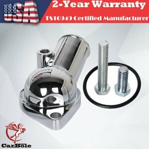 Chrome Water Neck Thermostat Housing Small Big Block 45 Degree For Chevy V8 350