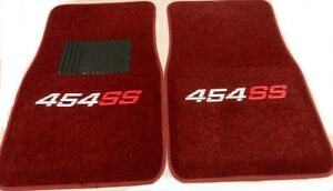 454 Ss Floor Mats Burgundy Maroon Chevy 454 Ss 2pc Heat Pressed Logo 454ss M