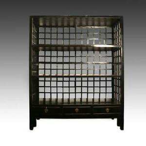 Antique Chinese Elm Wood Lattice Bookcase Lacquered Painted Cabinet China 19th C