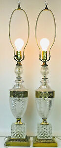 Vintage Pair 23 Diamond Cut Glass Crystal Brass Table Lamps Made In Romania