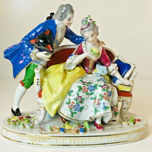 Vintage Made In Japan Porcelain Victorian Courting Couple Figurine Statue