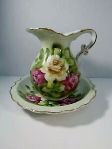 Vintage Pitcher And Bowl Set Green With Painted Roses 5 Tall Stunning