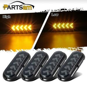 4pc 6 Oval 25 Arrow Led Surface Mount Smoked Lens Amber Turn Signal Tail Lights