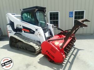 2015 Bobcat T770 Skid Steer Forestry Pkg Heat ac 2spd Hi Flow Fecon Mulcher