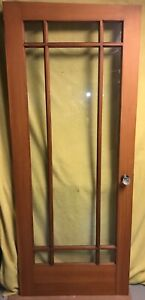 Antique Arts Crafts Wood Interior French Entry Door W 9 Pane Glass 32x78