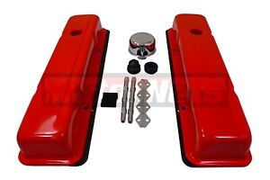 Small Block Chevy Orange Stock Valve Covers 283 327 350 400 Sbc Gasket Breather