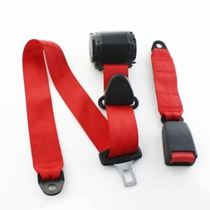 1set Fits Gmc 3 Point Fixed Harness Safety Belt Seatbelt Lap Strap Color Red