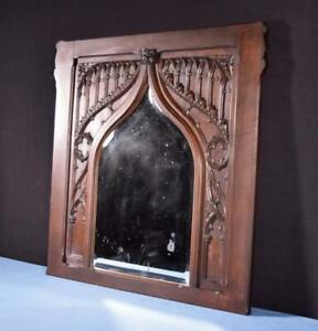Large Antique French Gothic Revival Panel In Walnut Wood W Mirror