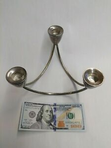 Mid Century Modern 3 Arm Sterling Candle Holder By Duchin