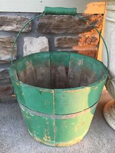 Antque Wood Bucket Old Green Paint