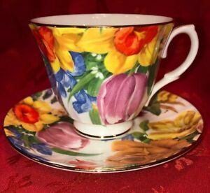Vintage Duchess Tea Cup Saucer Brilliant Floral Bouquet Bone China England