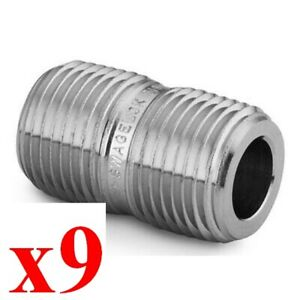 X9 New Swagelok Ss 4 cn Stainless Pipe Fitting Close Nipple 1 4 In Male Npt