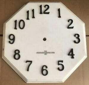 Antique Large Marble Standard Electric Time Octagonal Clock Face Raised Numbers