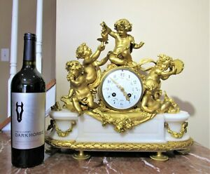 Magnificent Xl 1880 S Tiffany Dore Bronze Marble French Clock W Putti Party