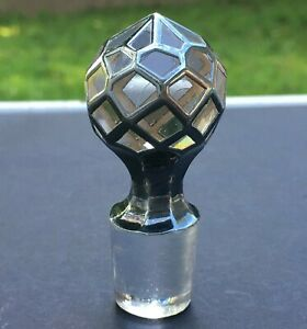 Antique Sterling Silver Overlay Glass Perfume Diamond Faceted Bottle Stopper