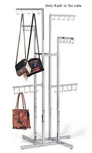 4 Way Handbag Rack In Chrome 48 72 Inches With J Hooks