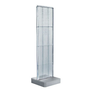 Clear Two sided Pegboard Floor Display On Square Metal Base 16w X 60h