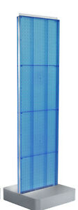 2 sided Pegboard Floor Display In Blue 16w X 60h Inches With Studio Base