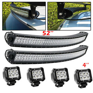 52 Curved Led Work Light Bar Spot Flood Combo For Suv 4wd Atv Ford Jeep 50