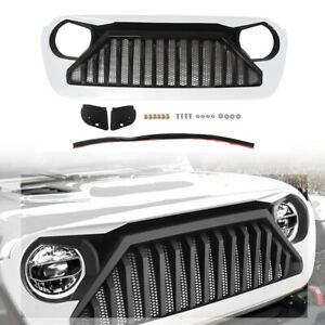 White Front Bumper Grill Grille With Mesh Inserts For Jeep Wrangler Jl 2018 2019