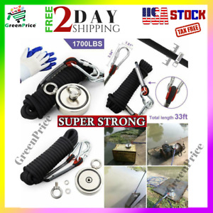 Super Strong Double Sided Neodymium Fishing Magnet Kit 1700 Lbs 772kg Combined