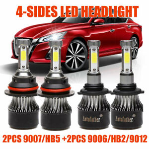 9007 9006 Led Headlight Kit Hi Lo Beam Bulbs 6000k For Nissan Murano 2003 2007