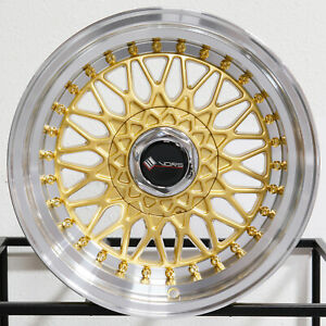 4 new 16 Vors Vr3 Wheels 16x8 4x100 4x114 3 20 Gold Rims