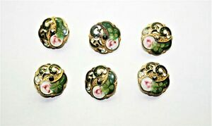 Antique Set Of 6 French Goldtone Champlev Enamel Flower Motif Open Work Buttons