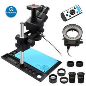 3 5x 90x Trinocular Stereo Microscope With Aluminum Alloy Pad For Pcb Repair