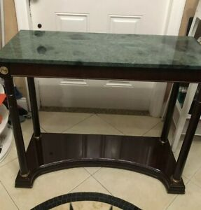The Bombay Company Marble Granite Top Table 1989 Foyer Front Entry 35 X 14