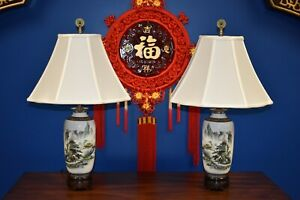 26 Matched Pair Of Chinese Porcelain Vase Lamps Asian Oriental Cloisonne