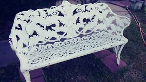 2 Antique Victorian Cast Iron Garden Bench And 2chairs And Two Tables