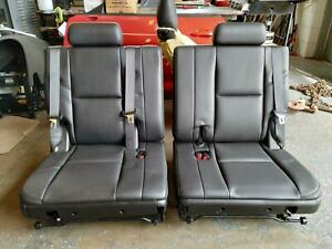 07 08 09 10 11 12 13 14 Yukon Denali Escalade Third Row Seats 3rd Leather Black