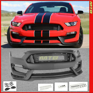 Front Bumper Retrofit Conversion For Mustang 15 17 Gt350 Style Grille Spoiler