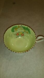 Vintage Victoria C E England Porcelain Teacup Green White W Gold Trim
