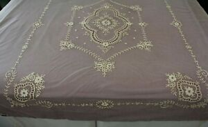 Antique Nos 7 Piece Set Lace Netting Embroidered Bedspread Scarf Runner Vanity