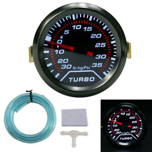 Universal Car 2 52mm Led Psi Turbo Boost Gauge Pressure Vacuum Smoked Face Fast