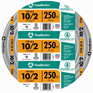 Southwire Electrical Wire 250 Ft 10 2 Gauge Solid Copper Indoor Outdoor Gray