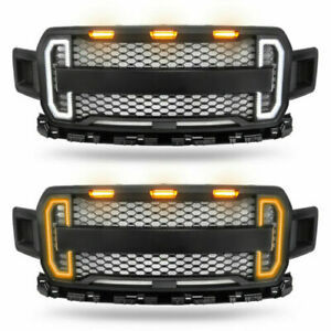 For 2018 2019 Ford F150 Abs Raptor Style Grill Grille With Tunning Led Lights