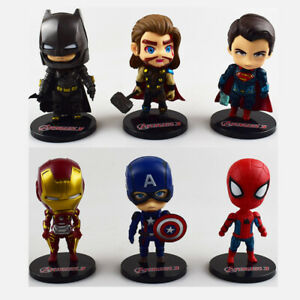 The Avengers Cute Car Doll Cartoon Marvel Hero Toy Resin Car Decoration Interior