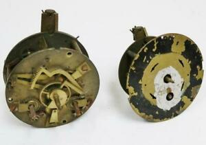 2 X Antique French 8 Day Clock Movements Spares Repairs Timepiece