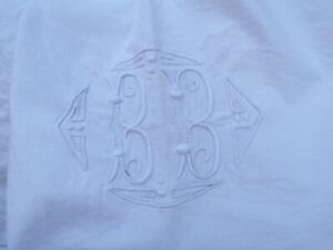 French 1920 Bedding Pure Linen Off White Sheet Pin Tuck Embroidered Monogram