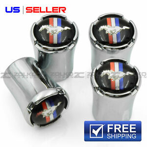 Valve Stem Caps Wheel Tire Chrome For Mustang Us Seller