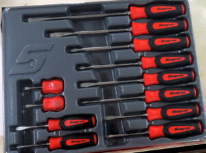 New Snap On Red Sgdx120br 12 Piece Soft Grip Combination Screwdriver Set