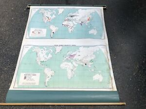 Nystrom Pull Down Map Globe School Mcnally Vtg Classroom Wall World Vegetable