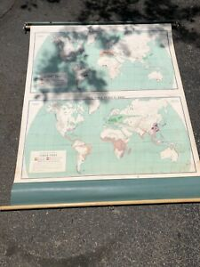 Nystrom Pull Down Map Mcnally Vtg Classroom Wall World Starch Foods Beverage