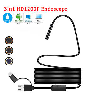 Usb Endoscope Borescope Inspection Camera 6 Led Light For Android Phone 5m